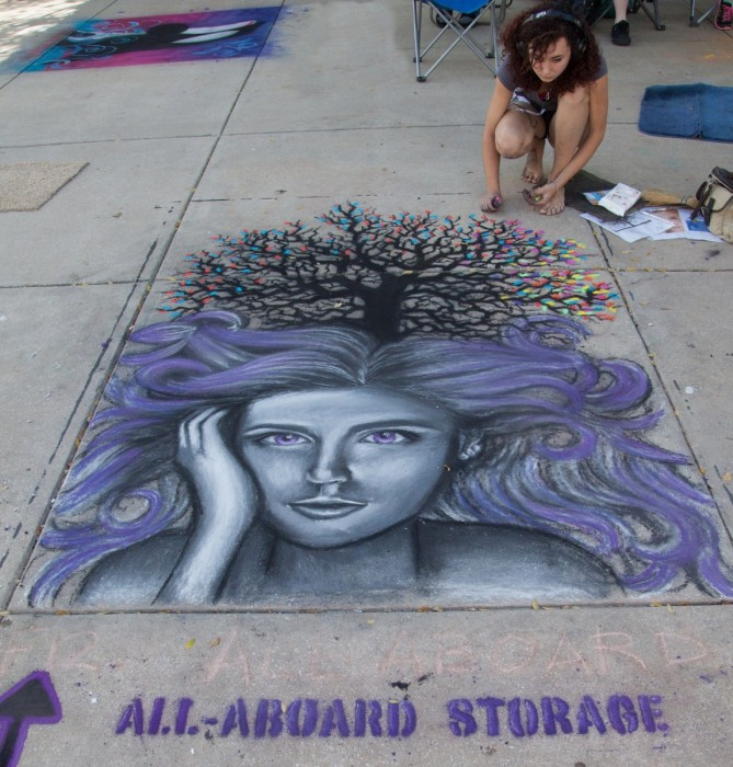 All Aboard Storage Chalk Drawing